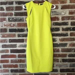 Topshop - Lime Green Yellow Ribbed Cutout Dress